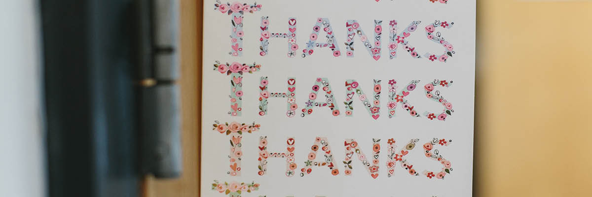 An image of a thank you card to accompany compliments and feedback.
