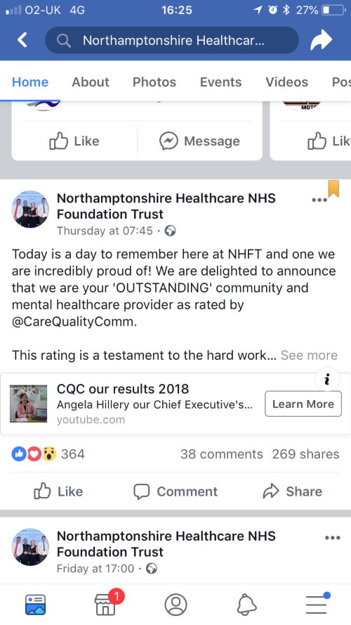 Facebook post about CQC rating