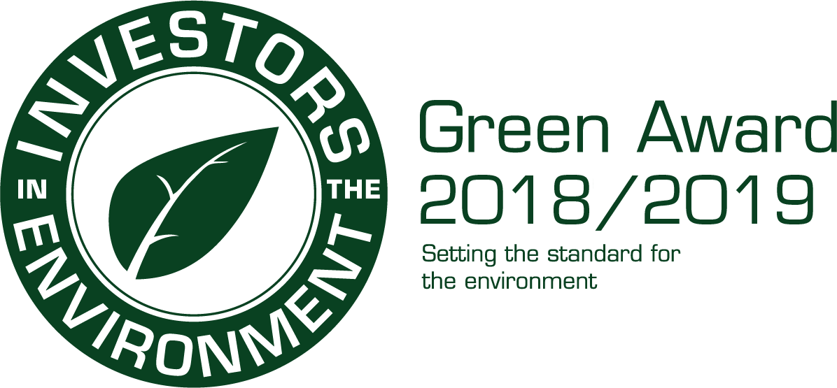 Image of Investors in the Environment green accreditation awards for 2018-2019.