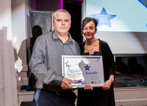 Image of Andy Willis, NHFT involvee and winner of Anne McWatt award for innovation in involvement 2019 quality awards