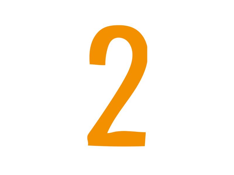 An orange number 2