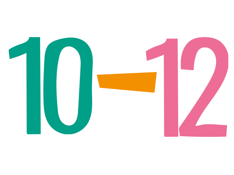 Green number 10 and a pink number 12