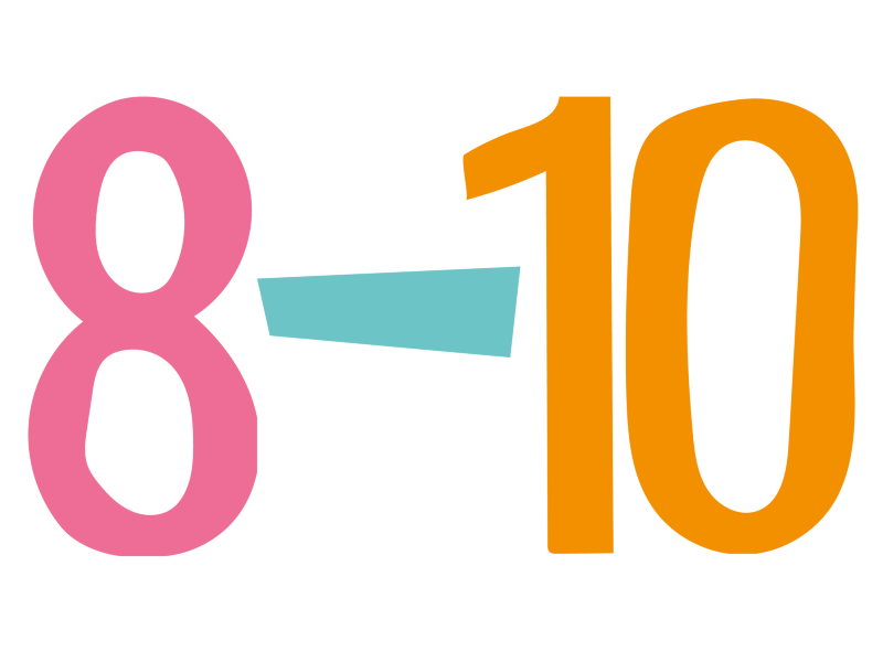 Pink number eight and an orange number 10