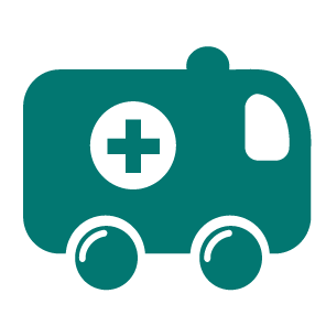 An icon of an ambulance in green