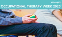 Occupational Therapy Week 2020 #chooseOT. Gentleman sat holding ball