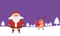 A cartoon santa and reindeer standing on snow with trees in the background