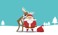 Santa and Reindeer on snowy background with fir trees