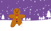 Gingerbread man and reindeer on snow with Christmas trees and snow